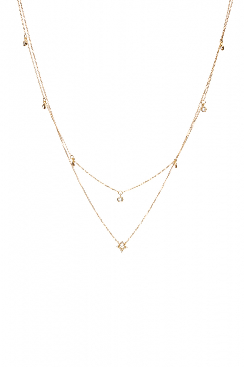 delicate crystal moon necklace lola products gold dove and